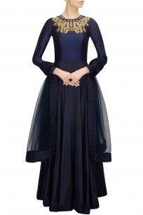 Midnight blue embroidered anarkali set