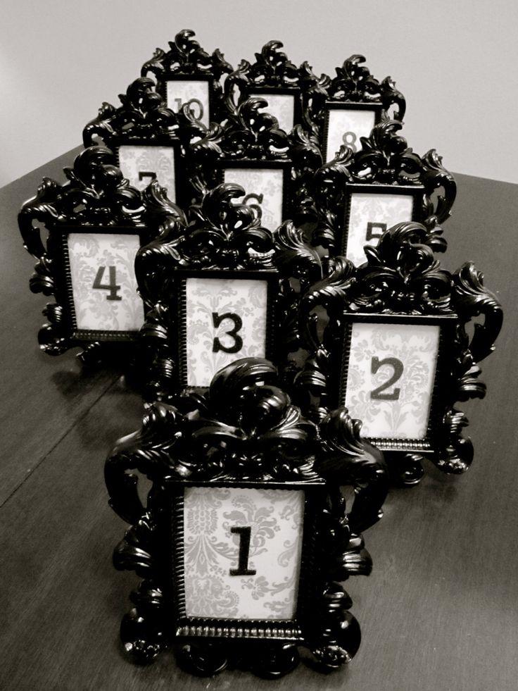 Black Baroque & Damask Wedding Table Number by TheGarrettGroup, $75.00