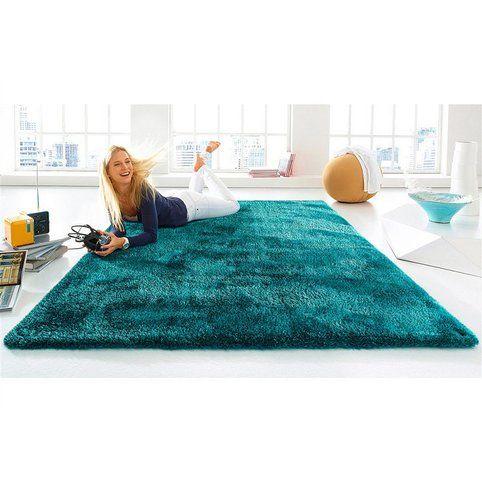 tapis carr ou rectangulaire uni fait main mches hautes turquoise vue 1 - Tapis Color Fly