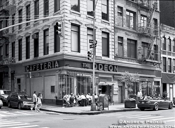 Tribeca Street Scene with Odeon Restaurant - http://andrewprokos.com/photos/black-and-white/
