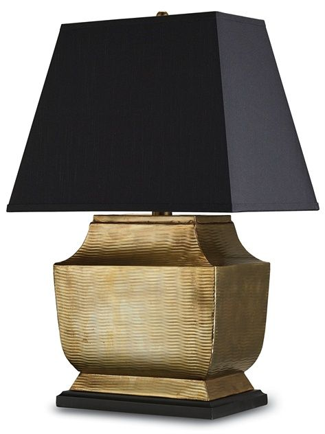 PRODUCT NAME: Helios Table Lamp DIMENSIONS: 30h x 20w NUMBER OF LIGHTS: 1 SHADES: Black Shantung /Gold liner MATERIAL: MDF/ Brass FINISH: An...