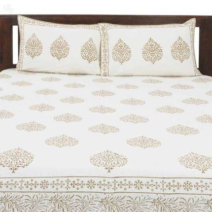 buy double bed sheet set betel leaves cream with beige block print online india zansaar
