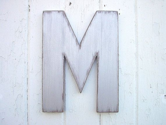 "Shabby chic Letter ""M"" Modern Industrial Urban Rustic Wooden Wall Hanging Dorm Letter decor Silver. $25.00, via Etsy."