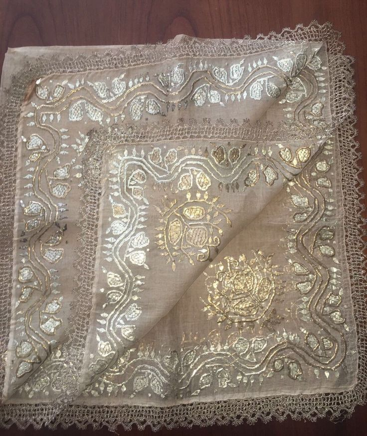 "ANTIQUE Ottoman-Turkish Silver & Gold Metallic Hand Embroidered Square Cevre - $750.00. You are viewing an attractive example of embroidery. I'm offering a lovely bridal ""Headscarf - cevre-'' Origin: Turkey Example from the: Ottoman period / 19th centuryColourway of the fabric : ecru It is a hand loomed fabric.The hand embroidery is on all around the scarf silver and gold metallic thread on linen- silky; The embroidery technique counted stitches neat and worked rever..."