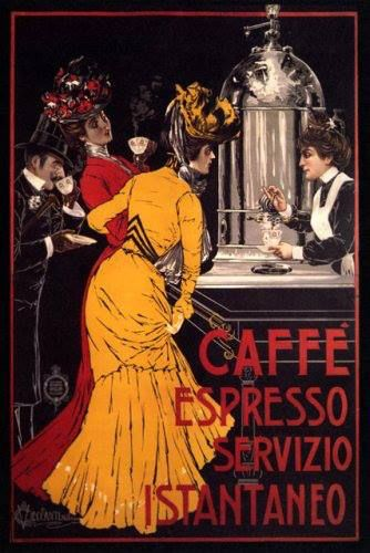Lady caffe espresso coffee machine instant service italian vintage poster repro