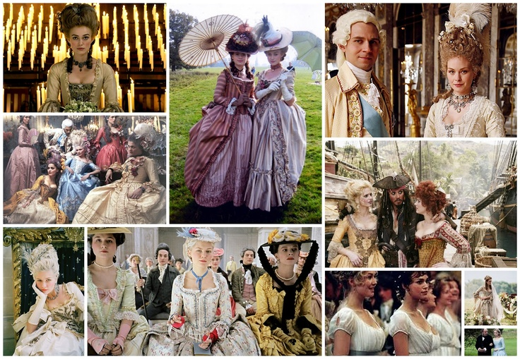 1 & 2 Kiera Knightley in The Duchess, 3 King Louis XVI in BBC2's series on The Palace of Versaille (if you didn't catch it it was really interesting and the costumes were incredible, here is the last episode, there are three), 4 & 5 Kiera Knightley and Johnny Depp in The Pirates of the Caribbean, 6 The new dramatic interpretation of Charles Dicken's novel Edwin Drood, 7 Jane Austen's Pride and Predjudice with Kiera Knightley (again!), 8,9 & 10 in Marie Antoinette.