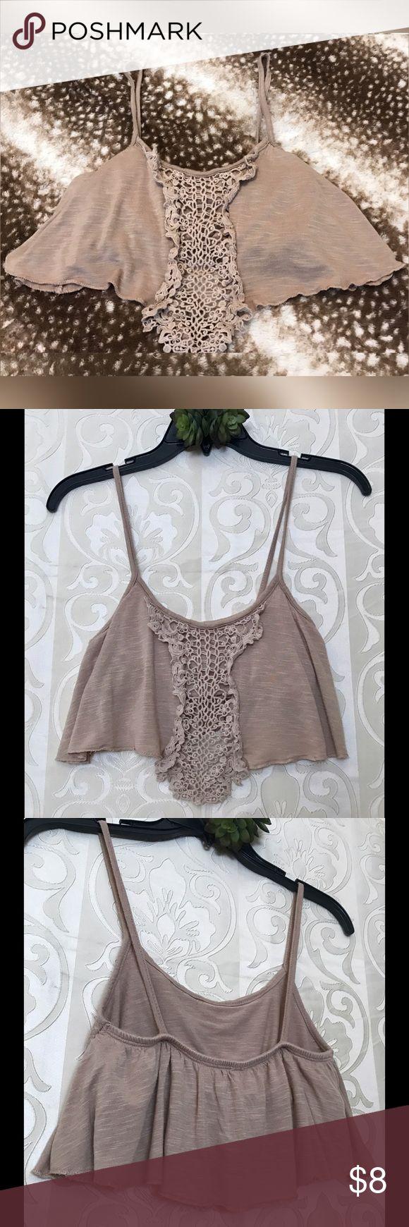 Crochet Crop Top Cute dark cream crop top with front crochet design. Top has spaghetti straps and also has a built in bra. Tops Crop Tops