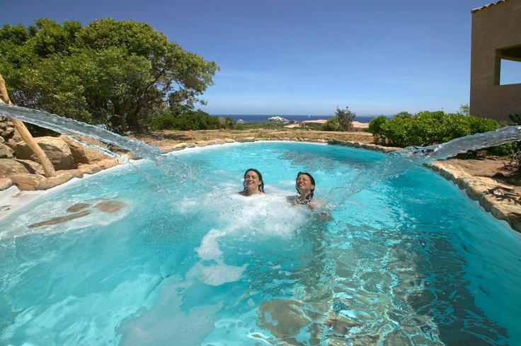 Resort Valle dell Erica Thalasso and Spa, Le Thermae Spa centre has been created in a natural setting of granite rocks with 4 superb outdoor hydrotherapy pools of varying temperatures and enjoying sea views. Sardinia