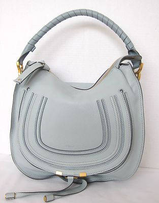 Chloe Marcie Medium Hobo Flap Bag Icy Blue Leather Stitching ...