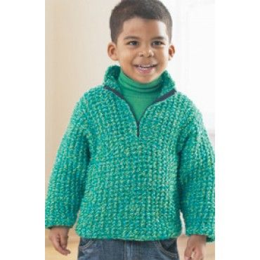 Mary Maxim - Free Half-Zip Pullover Knit Pattern - Free ...