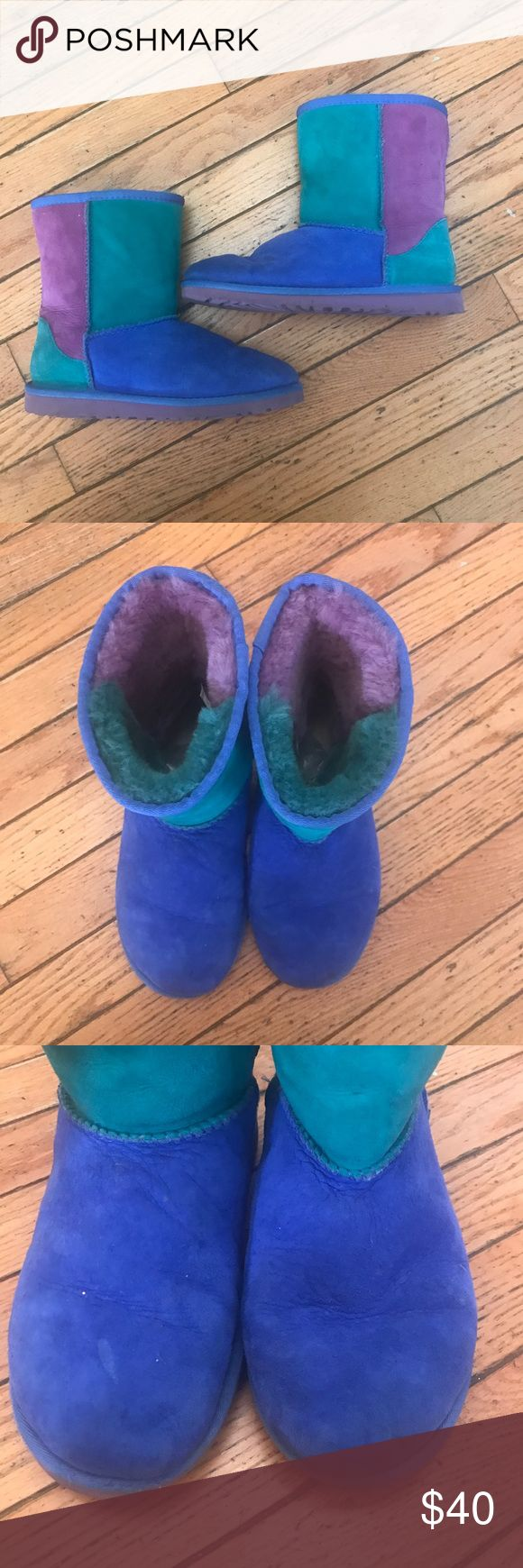 UGG Kids Classic Patchwork Boots in Dried Lavender Worn so please view all pictures carefully!! These boots are a KIDS size 4 so they are a WOMENS size 6! Multi color boots. Genuine twinface sheepskin. This boot offers you a classic UGG look with a unique stylish twist. UGG Shoes Boots