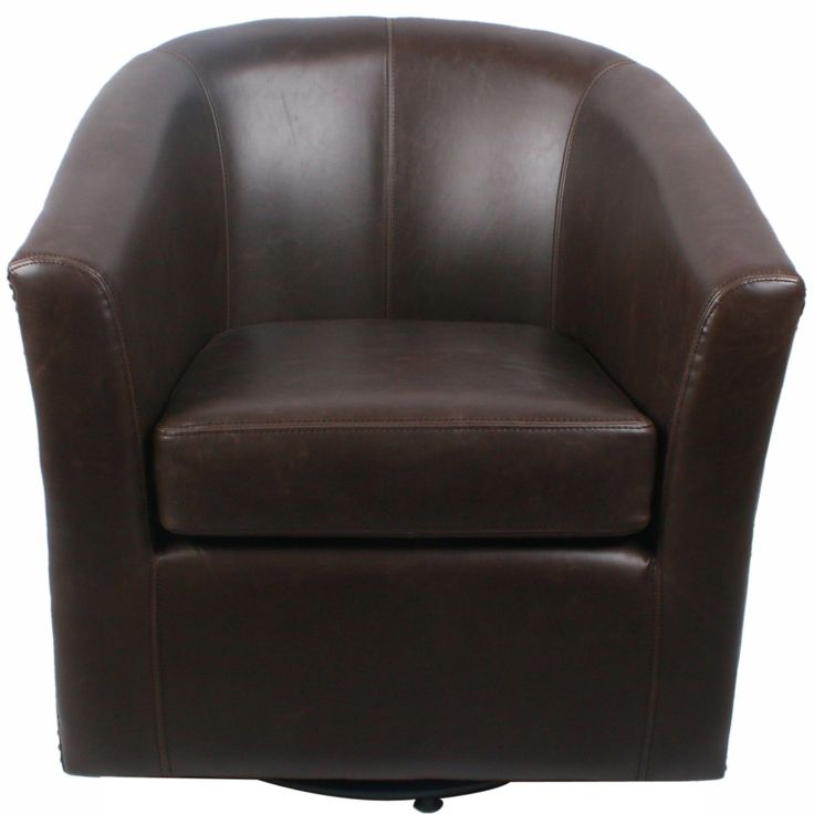 Ernest Bonded Leather Swivel Barrel Chair