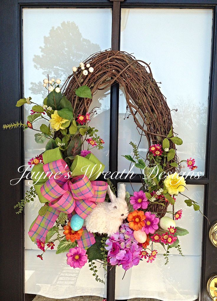 Oval Grapevine Easter/ Spring Wreath with Bunny, Spring Flowers, and Bow Jayne's wreath designs on FB and Instagram Home decor By Jayne's wreath designs