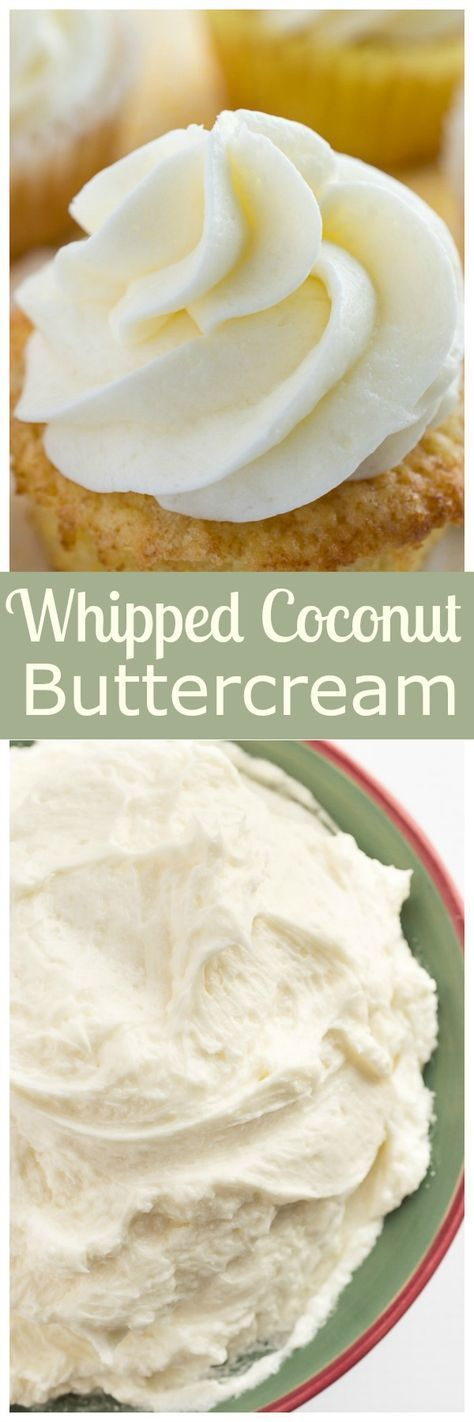 Thick, luscious whipped coconut buttercream frosting. Perfect on top of cakes, cupcakes, or alone on a spoon! | bakedbyanintrover...
