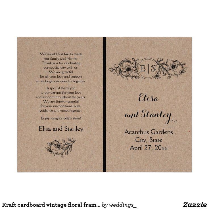 Kraft cardboard vintage floral frame with initials folded wedding program