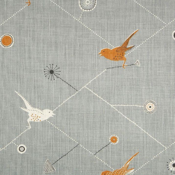 Oilcloth Fabric for Sale   ... Chorus - Duck Egg, Pumpkin and Winter Oilcloth   Vanessa Arbuthnott