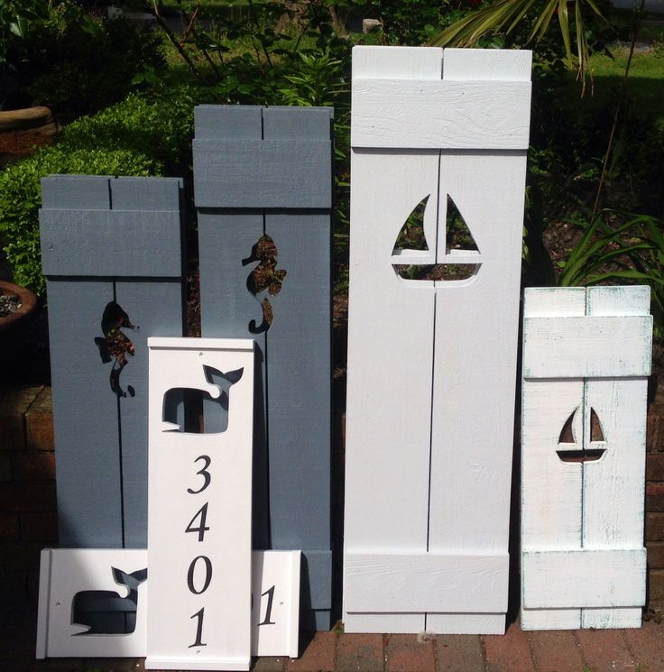 We make shutters of all sizes, colours and cutouts and matching house numbers too at www.CastawaysHall.etsy.com