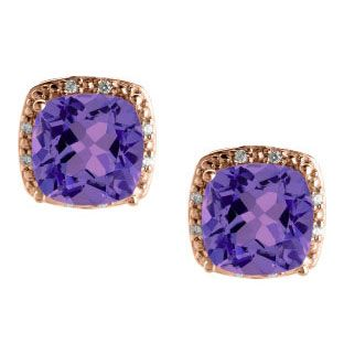 Cushion Cut Amethyst February Gemstone Rose Gold Diamond Earrings Available Exclusively at Gemologica.com