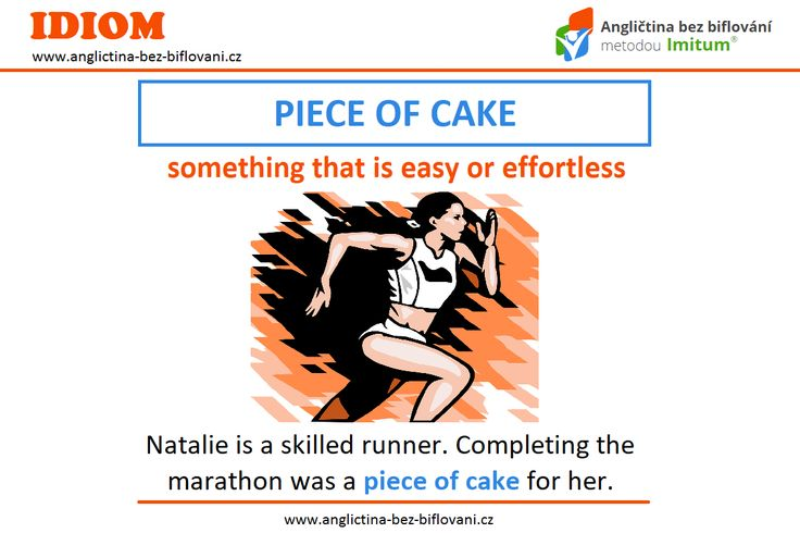 """Anglický idiom """"PIECE OF CAKE"""" můžeme do češtiny přeložit jako """"hračka, snadná věc, brnkačka."""" ✌ Více o problematice idiomů najdete na našich stránkách: ➡ http://bit.ly/2eQlpHC. #anglictina #idiomy"""