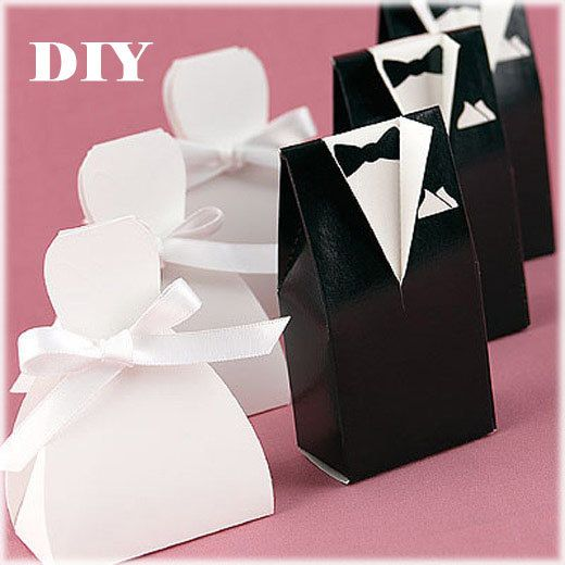 INSTANT DOWNLOAD / DIY Groom and Bride Favor Boxes / Groom and Bride Boxes Pattern / Wedding Decoration / Wedding Favors