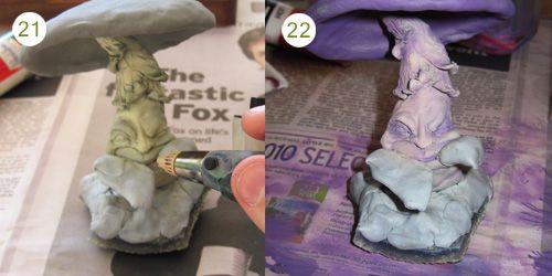 polymer clay mushroom tutorial, uses wire armature