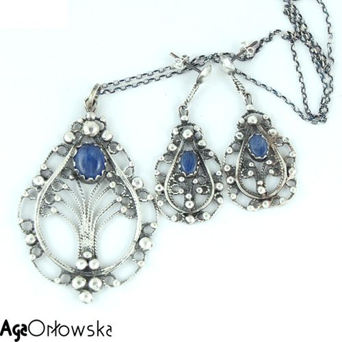 kyanite jewelery silver set (pendant, earrings) with silver filigree