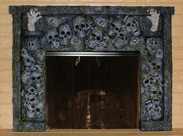 this is made with styrofoam and floral foam with celluclay and das clay applied for the scary halloweenhalloween 2013halloween fireplaceskull - Halloween Fireplace