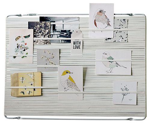 MULTI-FLEX. Interior Organiser. Metal frame with rubber band. Design; Remco van der Leij. Shiny White. #Postcard illustration: Maartje van den Noort (.nl)