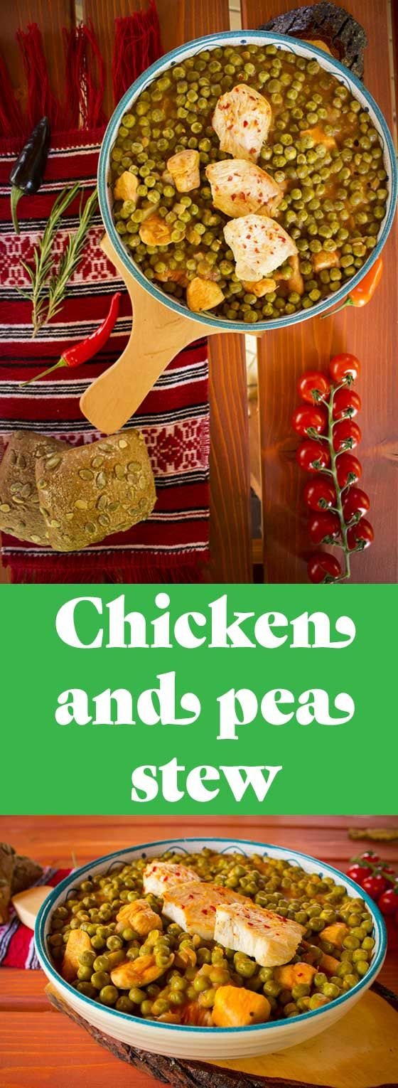 Chicken and peas stew, a delicious main course popular in Romania.