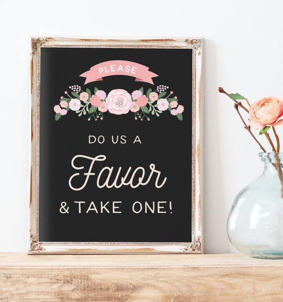 Rustic Wedding Favors Sign Printable - Do us a favor and take one Sign - The…