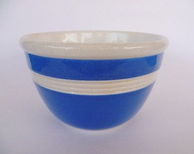 FOWLER WARE BLUE & WHITE POTTERY MIXING BOWL 1930'S VINTAGE. in Pottery, Glass | eBay