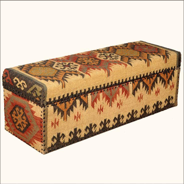 native american furniture | Native American Blanket Mango Wood & Fabric Coffee Table Chest