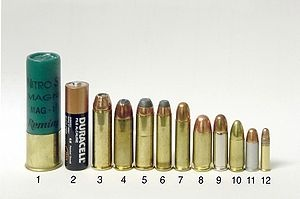 "Comparison of handgun rounds (Left to right)  3"" 12 gauge Magnum shotgun shell  AA Battery (for size comparison)  .454 Casull  .45 Winchester Magnum  .44 Remington Magnum  .357 Magnum  .38 Special  .45 ACP  .38 Super  9 mm Luger  .32 ACP  .22 LR"