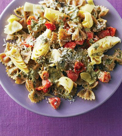 Farfalle with Mint Walnut Pesto - Clean Eating - Clean Eating