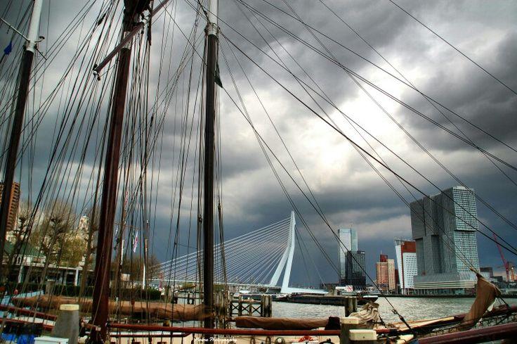 Dark clouds above Rotterdam #deRotterdam #photography #fotografie #Rotterdam #erasmusbrug #MoënePhotography R O T T E R D A M