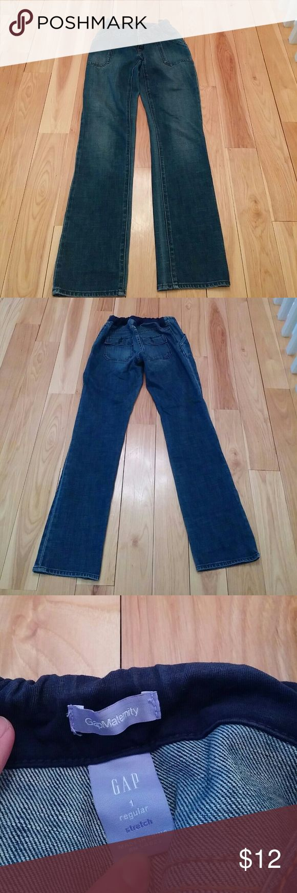 "Women's Maternity Jeans GAP maternity jeans. Straight leg, 31"" Inseam. Button and zip front closure. Adjustable waistband. Soft denim. Excellent used condition. Smoke free home. GAP  Jeans Straight Leg"