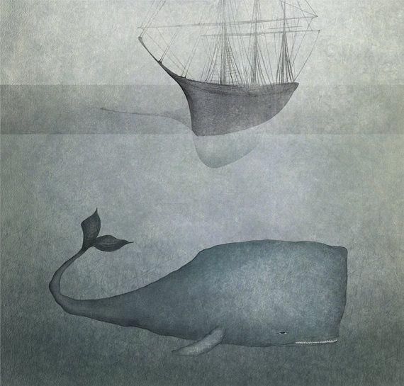 Ocean deep   Illustration print size 7 x 5 by majalin on Etsy, kr139.00