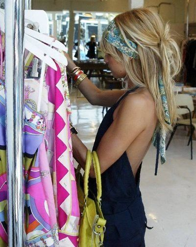 Boho Hair scarf, messy-style...perfect for the beach. Don't know if I could pull this off but know friends who would look great!