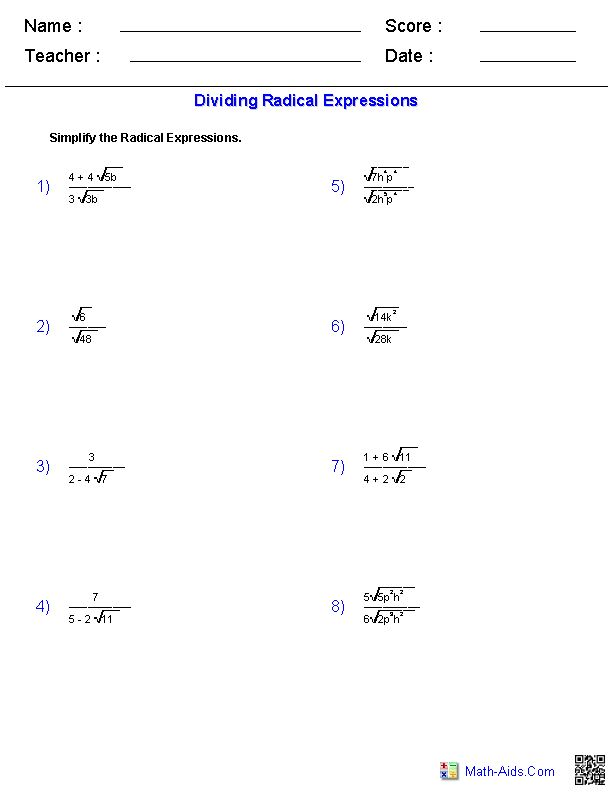 Radical Classroom Design ~ Dividing radical expressions worksheets math aids