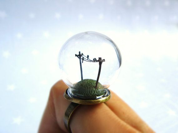 Spring Terrarium Ring Birds on a wire - adjustable ring via Etsy