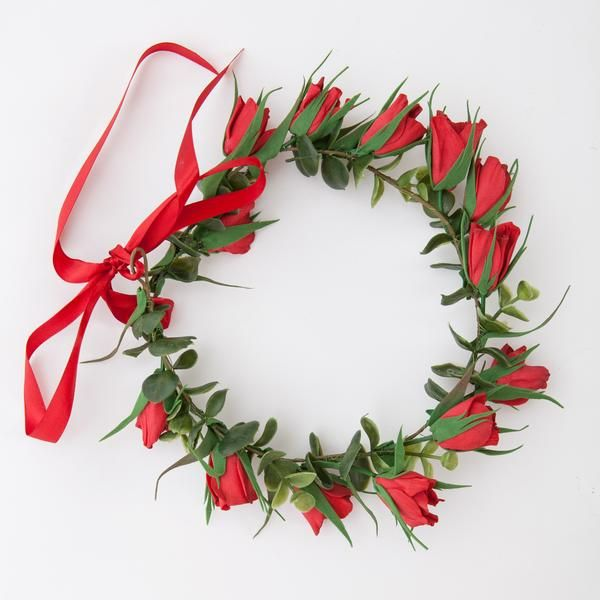 Red floral head wreath