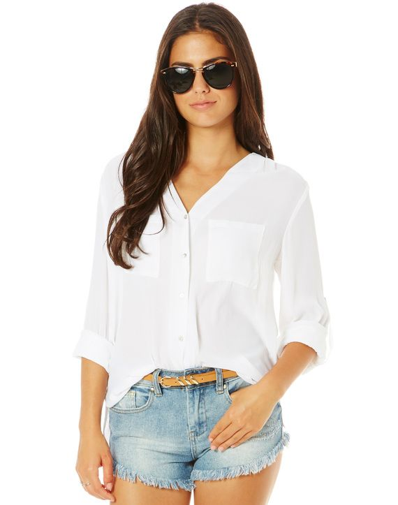 Sheer Front Pocket Blouse