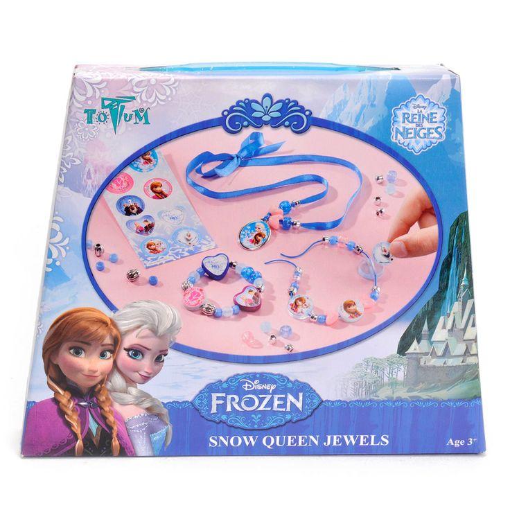 Disney Frozen Sneeuwkoningin Juwelen Maken Afmeting:verpakking 18 x 15 x 3,5 cmInclusief ovale zilverkleurige amulet, diverse gekleurde kralen, diverse zilverkleurige kralen, 4 kleine hart kralen, diverse grote platte kralen, 6 glitter kralen in diverse kleuren, blauwe satijn lint, blauw elastisch draad, Frozen stickervel en instructies. - Disney Frozen Sneeuwkoningin Juwelen Maken