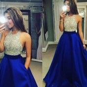 New Arrival Silver Sparkly Top and Royal Blue Bottom O-Neck Prom Dress for Party