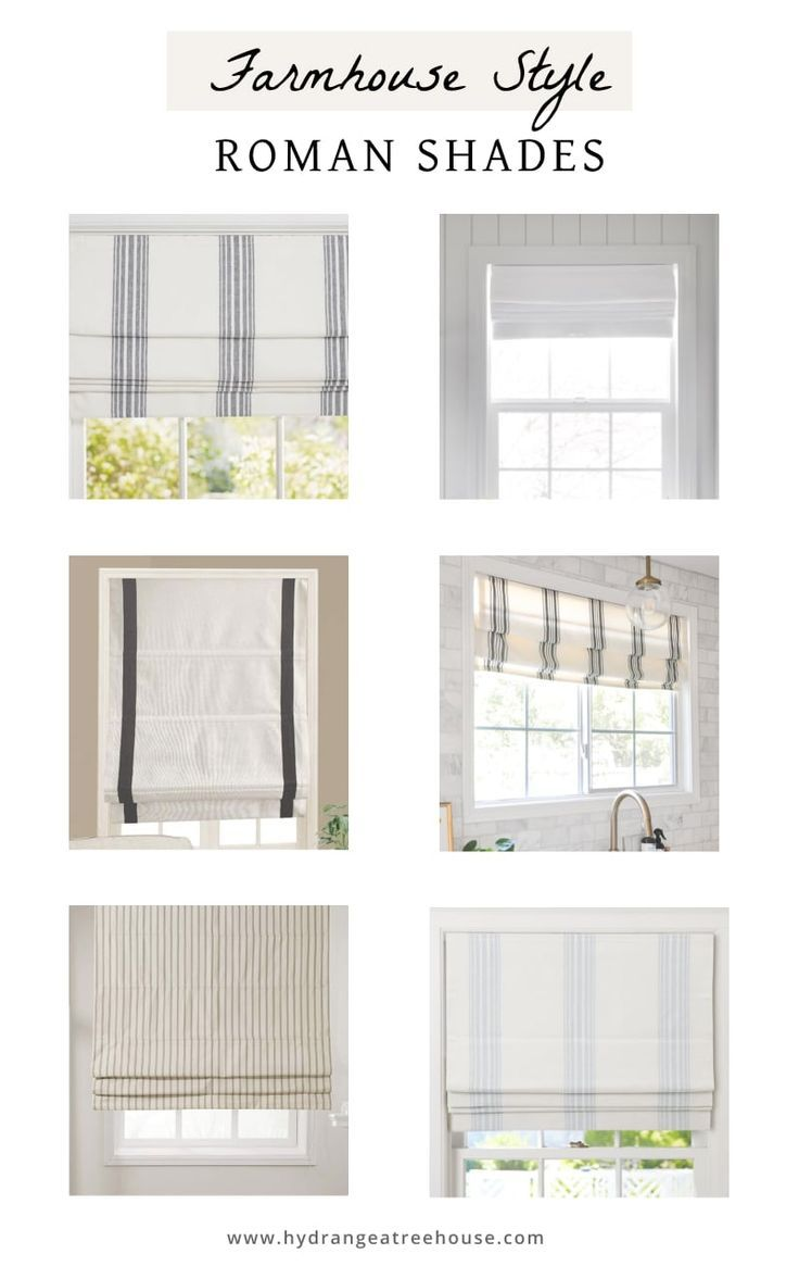 Best Roman Shades For A Modern Farmhouse Hydrangea Treehouse In 2020 Roman Shades Living Room Farmhouse Window Treatments Farmhouse Roman Shades
