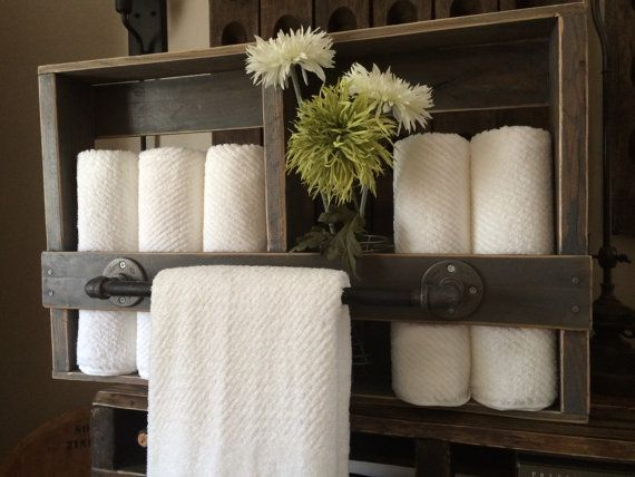 32W X 5D X 20H  A lovely way to display a bath towel or hang several for everyday after shower routines. Store your favorite bathroom luxuries in