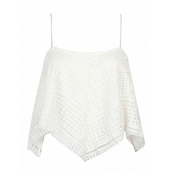 Choies White Asymmetric Lace Cami Top (66 MYR) ❤ liked on Polyvore featuring tops, white, lace cami, white lace top, white lace tank, cami tank and lace camisole tank