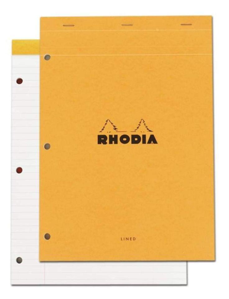 Rhodia Staplebound - Notepad - Orange - Lined with Margin - 3 holes - 8.25 x 11.75