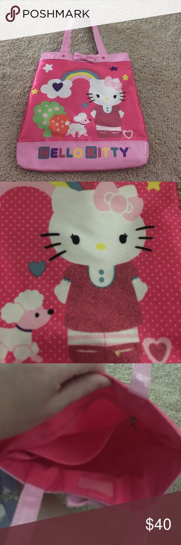 hello Kitty purse this hello Kitty purse has silk fabric in a bow on the top and hello Kitty's dress is sparkly Hello Kitty Bags Totes