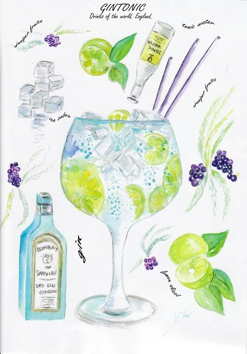 Gin and tonic cocktail watercolor print